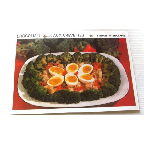 """FICHE CUISINE vintage rétro la bonne cuisine hors d'oeuvre """" brocolis tièdes aux crevettes """""""