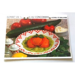 """FICHE CUISINE vintage rétro la bonne cuisine hors d'oeuvre """" sorbet de tomates au concombre"""""""