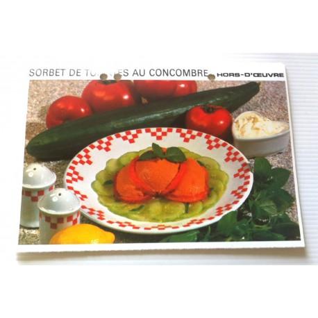 """FICHE CUISINE vintage rétro la bonne cuisine hors d'oeuvre """" sorbet de tomates au concombre """""""