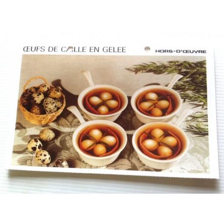 """FICHE CUISINE vintage rétro la bonne cuisine hors d'oeuvre """" œufs de caille en gelée """""""