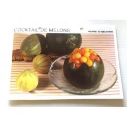 """FICHE CUISINE vintage rétro la bonne cuisine hors d'oeuvre """" cocktail de melons"""""""