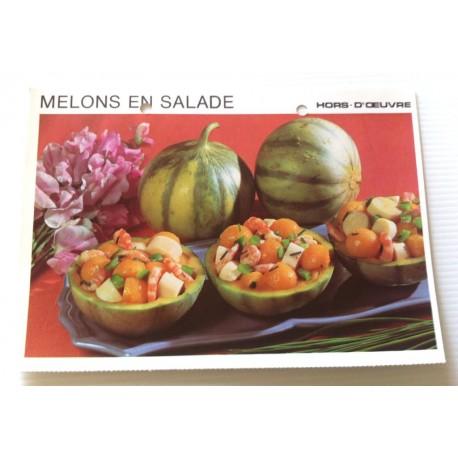 """FICHE CUISINE vintage rétro la bonne cuisine hors d'oeuvre """" melons en salade """""""