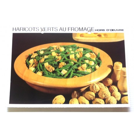 """FICHE CUISINE vintage rétro la bonne cuisine hors d'oeuvre """" haricots verts au fromage """""""