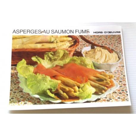 """FICHE CUISINE vintage rétro la bonne cuisine hors d'oeuvre """" asperges au saumon fumé """""""