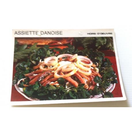 """FICHE CUISINE vintage rétro la bonne cuisine hors d'oeuvre """" assiette danoise """""""