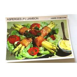 """FICHE CUISINE vintage rétro la bonne cuisine hors d'oeuvre """" asperges au jambon"""""""