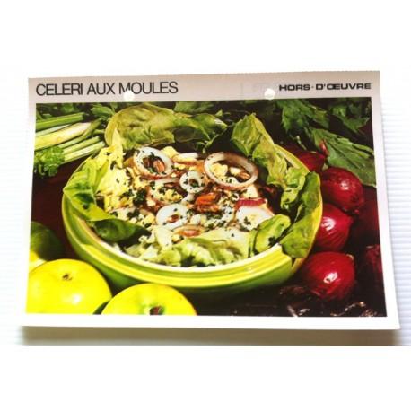 """FICHE CUISINE vintage rétro la bonne cuisine hors d'oeuvre """" céleri aux moules """""""