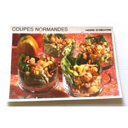 """FICHE CUISINE vintage rétro la bonne cuisine hors d'oeuvre """" coupes normandes"""""""