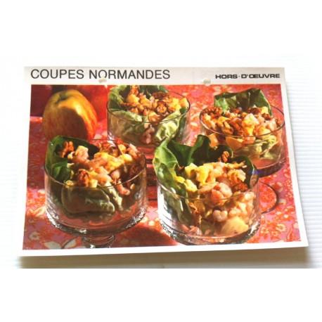 """FICHE CUISINE vintage rétro la bonne cuisine hors d'oeuvre """" coupes normandes """""""