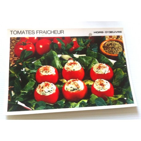 """FICHE CUISINE vintage rétro la bonne cuisine hors d'oeuvre """" tomates fraicheur """""""