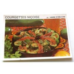 """FICHE CUISINE vintage rétro la bonne cuisine hors d'oeuvre """" courgettes niçoise"""""""