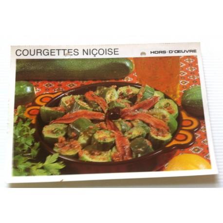 """FICHE CUISINE vintage rétro la bonne cuisine hors d'oeuvre """" courgettes niçoise """""""