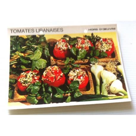 """FICHE CUISINE vintage rétro la bonne cuisine hors d'oeuvre """" tomates Libanaises """""""
