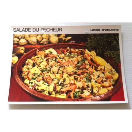 """FICHE CUISINE vintage rétro la bonne cuisine hors d'oeuvre """" salade du pêcheur """""""