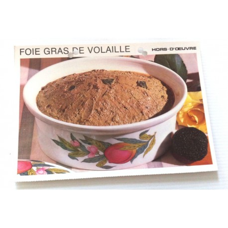 """FICHE CUISINE vintage rétro la bonne cuisine hors d'oeuvre """" foie gras de volaille """""""