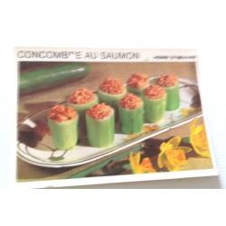 """FICHE CUISINE vintage rétro la bonne cuisine hors d'oeuvre """" concombre au saumon"""""""