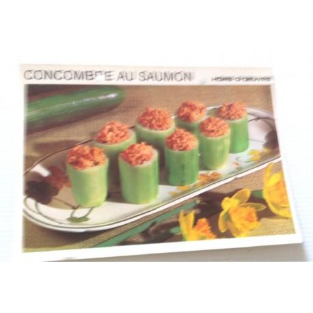 """FICHE CUISINE vintage rétro la bonne cuisine hors d'oeuvre """" concombre au saumon """""""