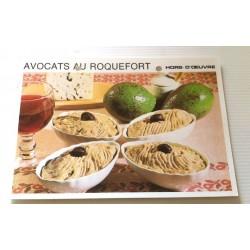 """FICHE CUISINE vintage rétro la bonne cuisine hors d'oeuvre """" avocats au roquefort"""""""