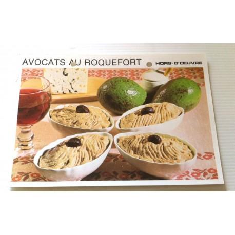 """FICHE CUISINE vintage rétro la bonne cuisine hors d'oeuvre """" avocats au roquefort """""""
