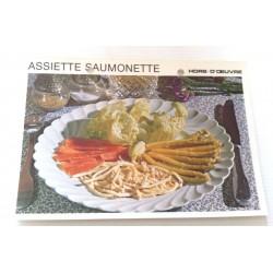 """FICHE CUISINE vintage rétro la bonne cuisine hors d'oeuvre """" assiette saumonette"""""""