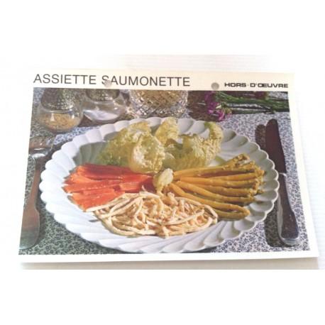 """FICHE CUISINE vintage rétro la bonne cuisine hors d'oeuvre """" assiette saumonette """""""