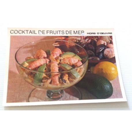 """FICHE CUISINE vintage rétro la bonne cuisine hors d'oeuvre """" cocktail de fruits de mer """""""