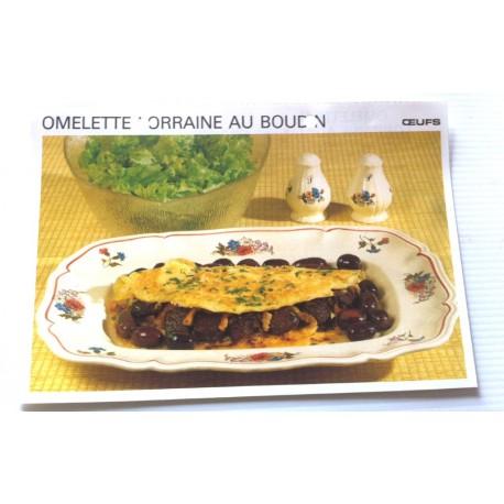 """FICHE CUISINE vintage rétro la bonne cuisine œufs """" omelette lorraine au boudin """""""