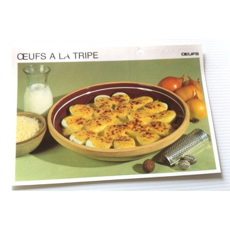"""FICHE CUISINE vintage rétro la bonne cuisine œufs """" œufs à la tripe """""""