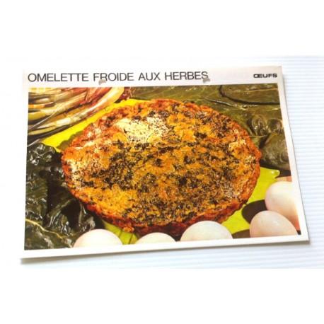 """FICHE CUISINE vintage rétro la bonne cuisine œufs """" omelette froide aux herbes """""""