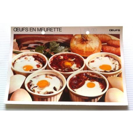 """FICHE CUISINE vintage rétro la bonne cuisine œufs """" œufs en meurette """""""