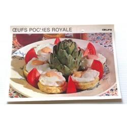"""FICHE CUISINE vintage rétro la bonne cuisine œufs """" œufs pochés royale"""" collection occasion"""