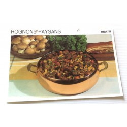 """FICHE CUISINE vintage rétro la bonne cuisine abats """" rognons paysans"""" collection occasion"""