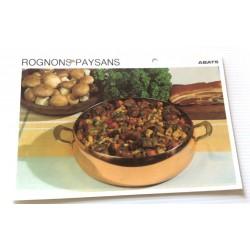 """FICHE CUISINE vintage rétro la bonne cuisine abats """" rognons paysans"""""""