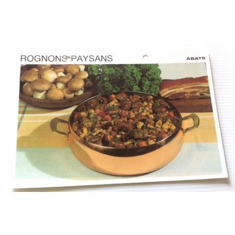 """FICHE CUISINE vintage rétro la bonne cuisine abats """" rognons paysans """""""