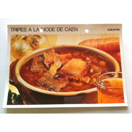 """FICHE CUISINE vintage rétro la bonne cuisine abats """" tripes à la mode de Caen """""""