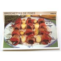 """FICHE CUISINE vintage rétro la bonne cuisine abats """" brochettes de foies"""""""