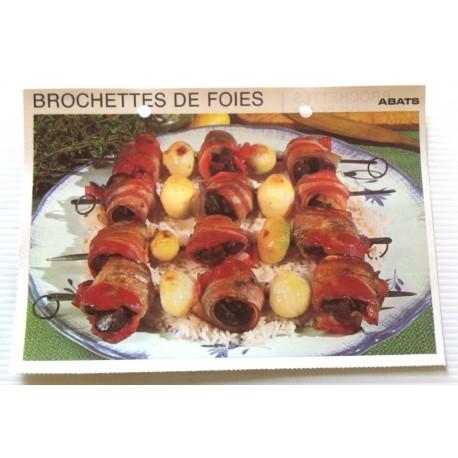 """FICHE CUISINE vintage rétro la bonne cuisine abats """" brochettes de foies """""""
