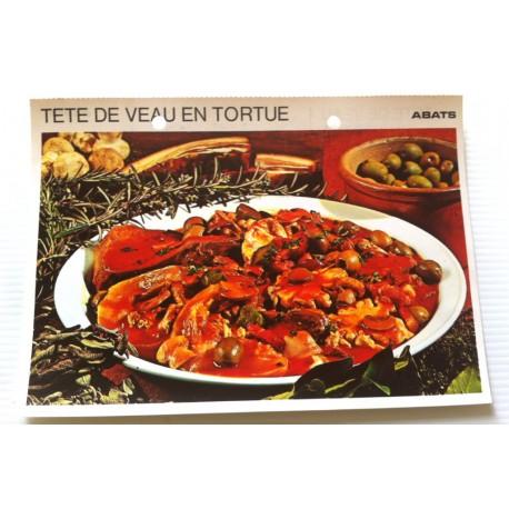 """FICHE CUISINE vintage rétro la bonne cuisine abats """" tête de veau en tortue """""""