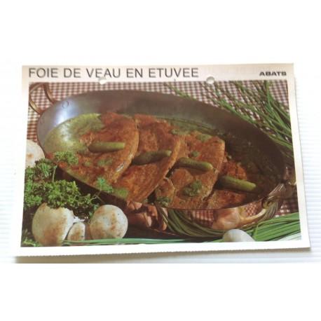 """FICHE CUISINE vintage rétro la bonne cuisine abats """" foie de veau en étuvée """""""