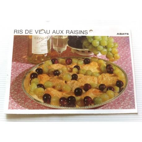 """FICHE CUISINE vintage rétro la bonne cuisine abats """" ris de veau aux raisins """""""
