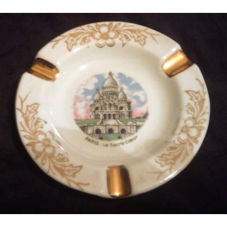 Ancien cendrier porcelaine limoges paris sacré cœur doré or fin