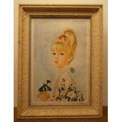 Collection !! Ancien cadre tableau peinture petite fille contour bois crépis beige