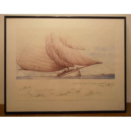 Ancien cadre tableau reproduction? dessus verre contour plastique bleu bateau SM 1908 / 1982
