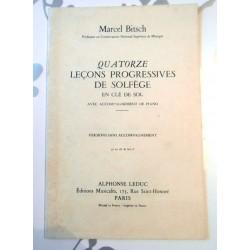Partitions Quatorze leçons progressives de solfège en clé de sol avec accompagnement de piano - Marcel Bitsch