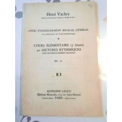 Partitions Cours Élémentaire (3 Éme Année) 40 Lectures Rythmiques Sans Accompagnement De Piano Henri Vachey
