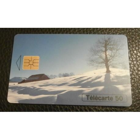 Ancienne carte téléphonique télécarte collection 50 unités au fil des saisons l'hiver 02