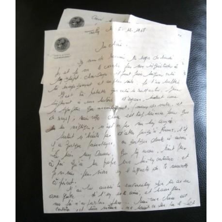 """ANCIENNE LETTRE D'AMOUR POINÇON PORTE AVION CLEMENCEAU """" le 6 / 12 / 1968"""