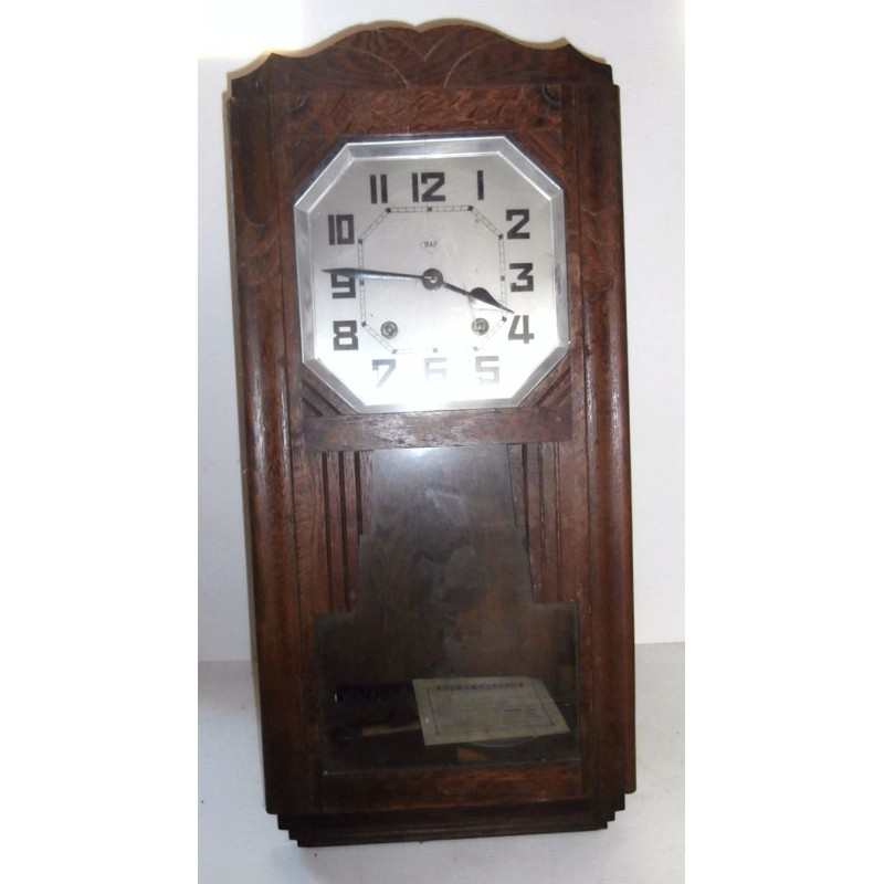 Horloge ancienne carillon pendule murale map cadre bois chêne a remontoir loading zoom