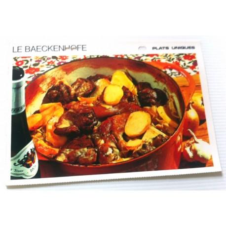 """FICHE CUISINE vintage rétro la bonne cuisine plats uniques """"LE BAECKENHOFE"""""""