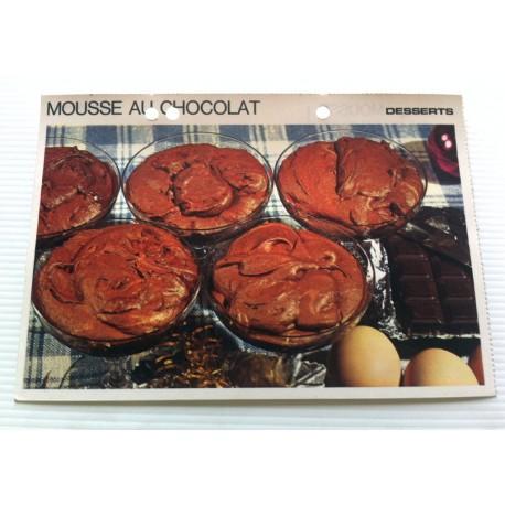 """FICHE CUISINE vintage rétro la bonne cuisine desserts """" MOUSSE AU CHOCOLAT """""""